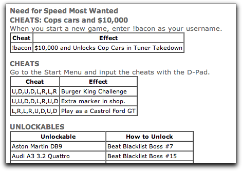 Need for Speed MW Cheats http://www.askdavetaylor.com/cheats_for_need_for_speed_most_wanted.html