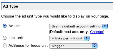 Ad Type selector including AdSense for Feeds