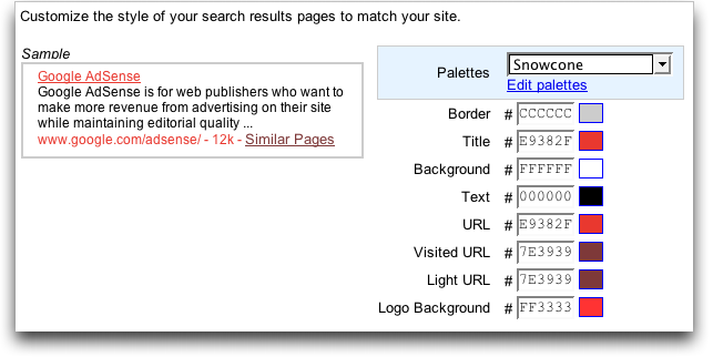 Google AdSense Search Results Page: Color Scheme