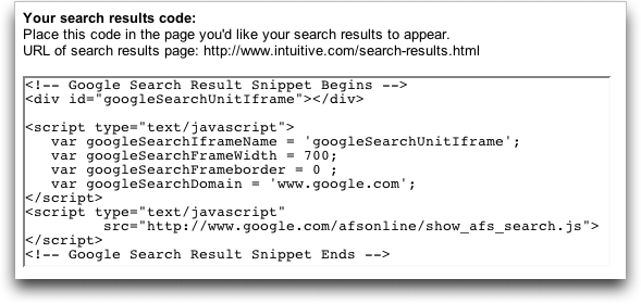 Google AdSense Search Box: Code