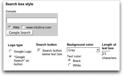 Google AdSense Search Box Style