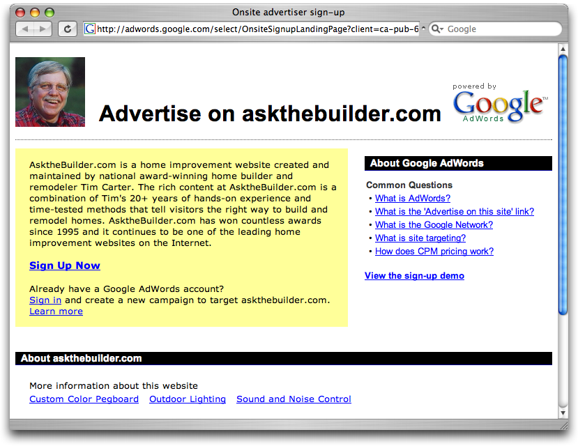'Advertise on this site' page from Google AdSense
