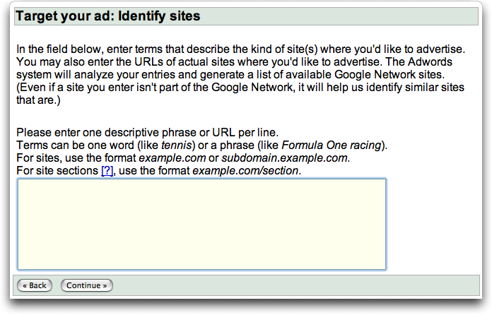 Google AdWords Site Targeting