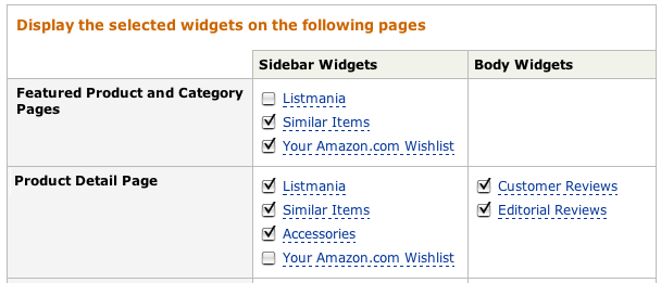 Amazon aStore: Specify which Widgets You Want