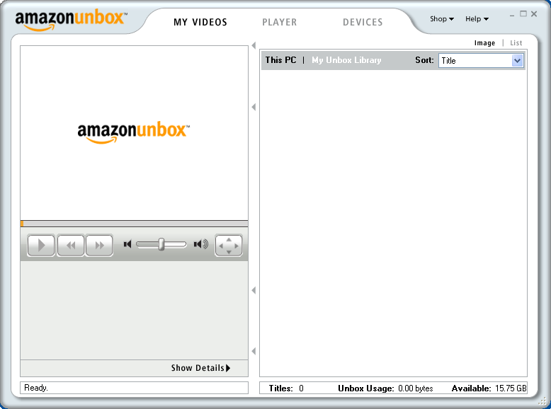 Amazon Unbox: Video Player