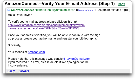 AmazonConnect confirmation email