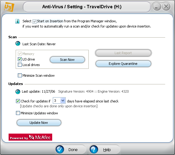 McAfee U3 software: antivirus scan starting