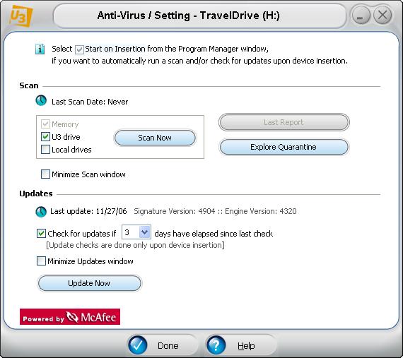 McAfee U3 software: antivirus scan starting