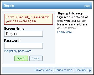 AOL.com Web site: verify your AOL account