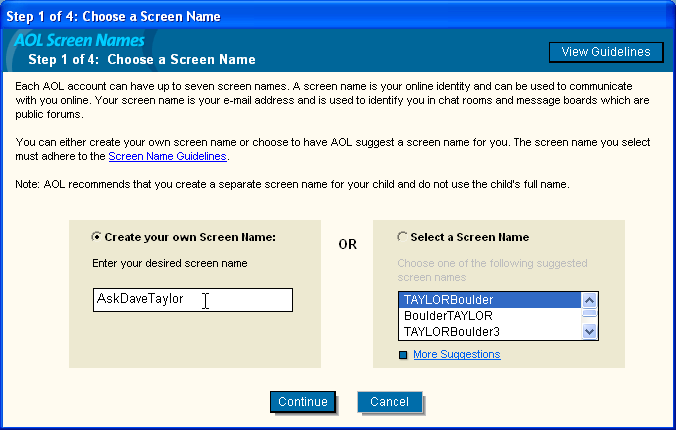 AOL 9.0 Choose a Screen Name