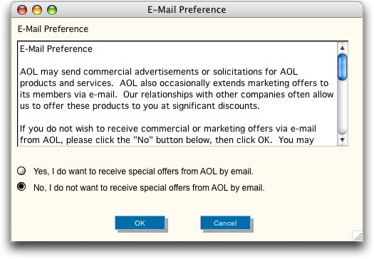AOL Email Preferences Window