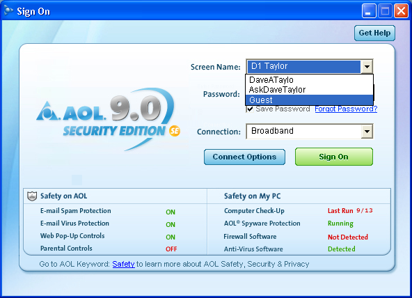 Log in to America Online (AOL) as a guest? - Ask Dave Taylor