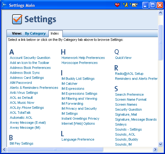 AOL 9.0 Settings: Main