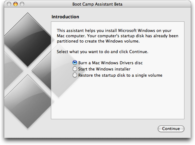 Apple Mac OS X Boot Camp (bootcamp) Assistant