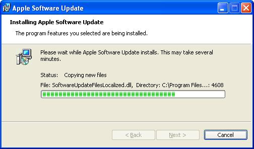 Apple Mac OS X Boot Camp (bootcamp): WinXP Installer Progressing