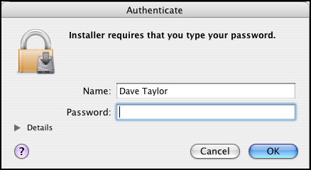 Apple Boot Camp Windows XP Dual Boot Installer: Authenticate