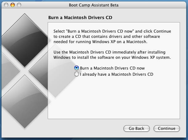 Apple Boot Camp Windows XP Dual Boot Installer: Burn Windows Drivers CDROM