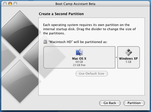 Apple Boot Camp Windows XP Dual Boot Installer: Create Second Partition