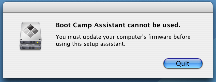 Apple Boot Camp Windows XP Dual Boot Installer: Update Firmware