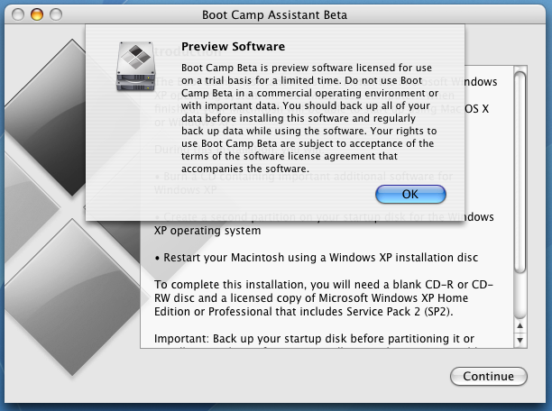 Apple Boot Camp Windows XP Dual Boot Installer: Warnings and Welcomes