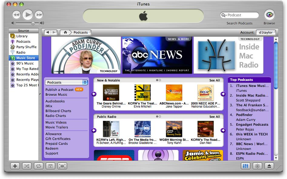 Apple iTunes Podcast Browsing