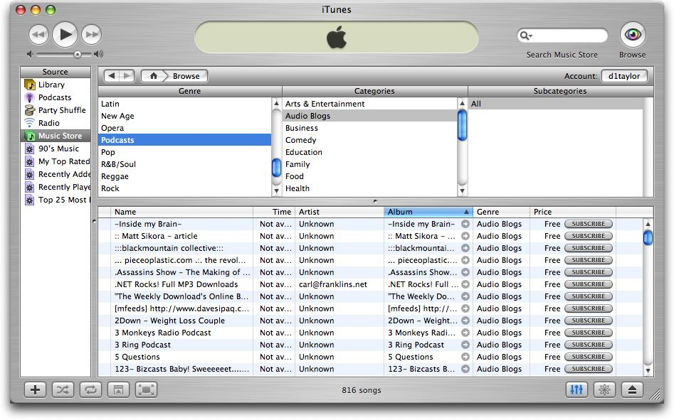 Apple iTunes Podcast Browsing, Specific Audio Blog