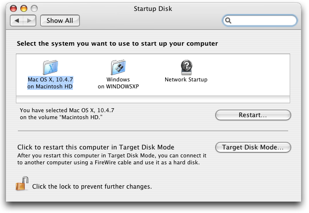 System Preferences: Startup Disk: Windows XP or Mac OS X?