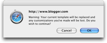 Blogger Template Change Warning