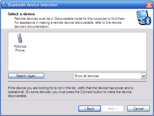 Windows XP Bluetooth Device Selection. Looks good!