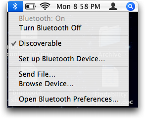 Apple Bluetooth Menu in Mac OS X