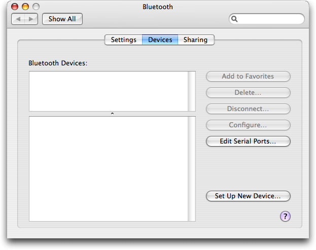 Bluetooth: No Devices Configured