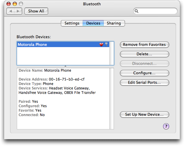 Apple Bluetooth Setup: Motorola RAZR V3c