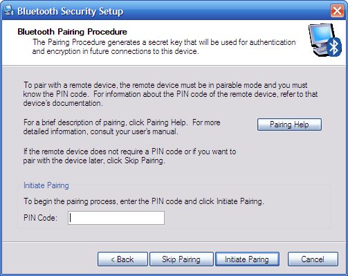 Windows XP Bluetooth Security Setup