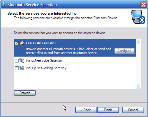 Windows XP Bluetooth Service Selection