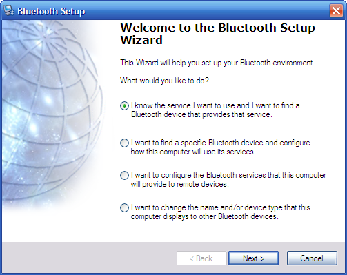 Windows XP Bluetooth Setup Wizard
