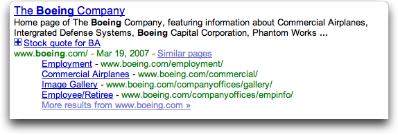 Google search results for Boeing, with 'plus symbol' more info feature shown