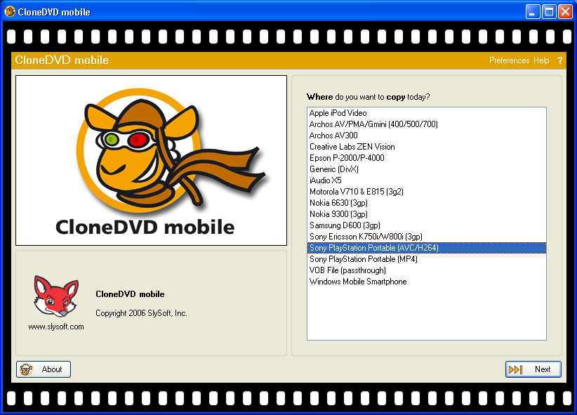 Slysoft's CloneDVD Mobile: Starting Page