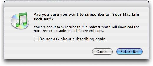 Confirm subscription to podcast