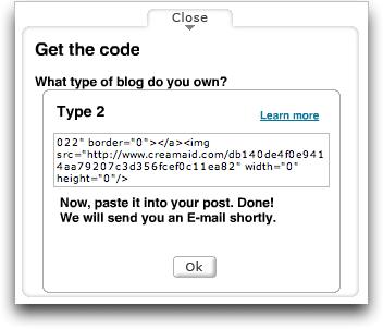 CREAMaid site, McDonald's Promotion, Get Code