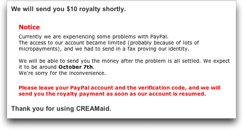 CREAMaid Paypal Account Frozen?
