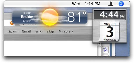 dashboard widget on the Mac OS X desktop