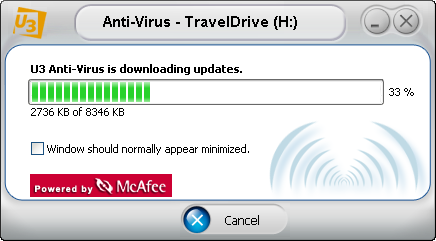 McAfee U3 software: Downloading Updates