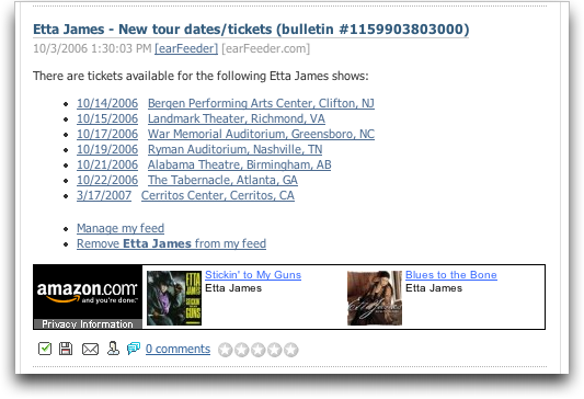 Earfeeder: Upcoming concerts for Etta James