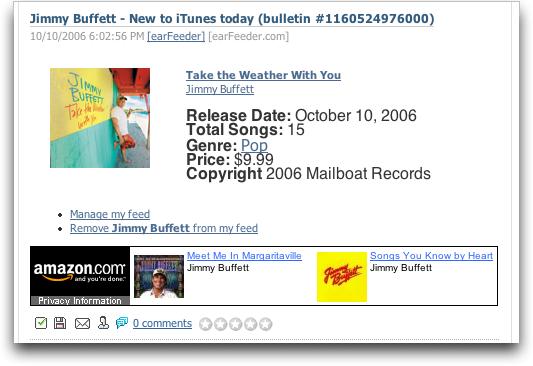 Earfeeder: A New CD From Jimmy Buffet!