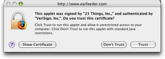 Earfeeder: Is that Java Applet secure?