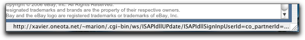 eBay phishing message: URL
