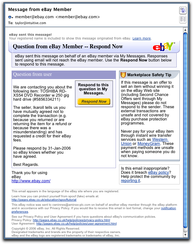 eBay phishing message