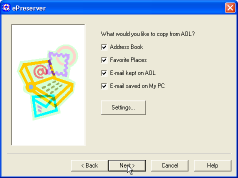 ePreserver AOL export options