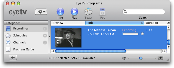 EyeTV on a Mac: exporting to Apple iPod Video format
