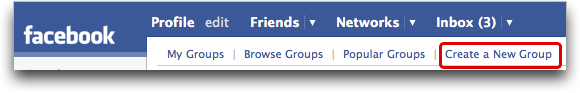 Facebook: Top Navigational Menu: Groups: Create a New Group